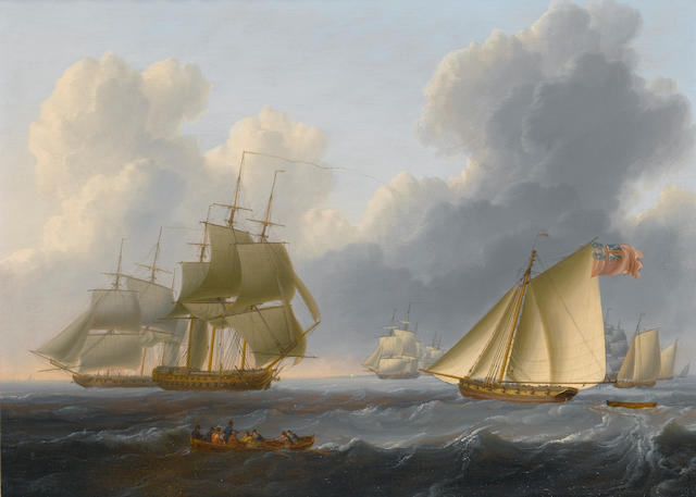 William Anderson (British, 1757-1837) Evening - a calm coast off Holland; An English Fleet off the c