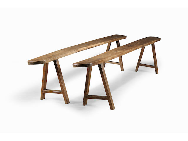 A pair of 19th Century oak benches