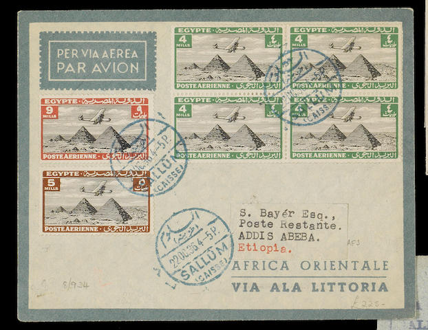 Egypt: 1936 Egyptian stage of first flight Rome to Addis Ababa, rated 30m.cancelled Sallum c.d.s., backstamped Alexandria, stated one of sixteen flown on this stage. (364)