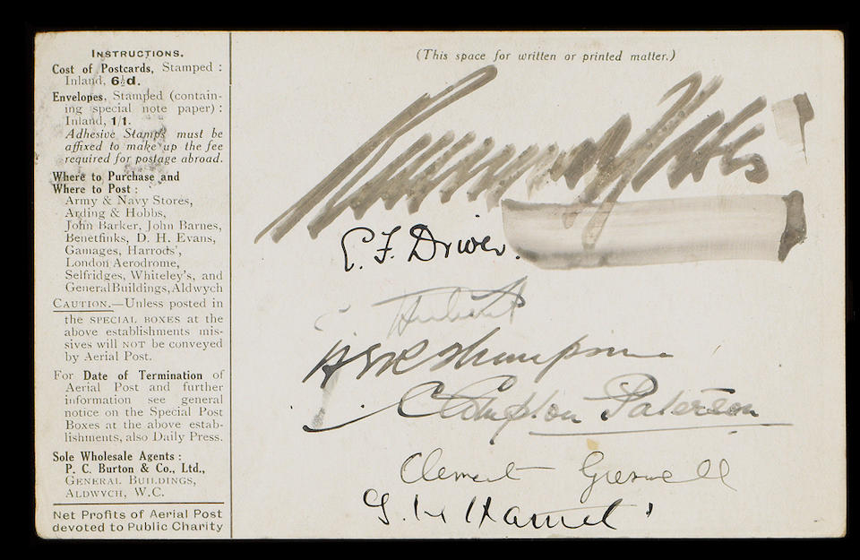 Airmails: 1911 London to Windsor First Aerial Post, olive green card pilot signed by Gustav Hamel, Clement Greswell, Charles Hubert, Evelyn Driver,  also three other signatures.