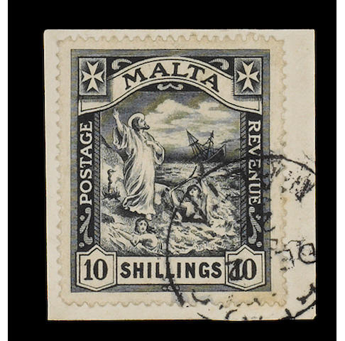 Malta: 1919 MCA 10/- fine used on small piece, B.P.A. Certificate (1949). SG 96, £3,750. (732)