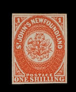 Newfoundland: 1857-64 1/- scarlet-vermilion (S.G.9), brilliant colour, superb and fresh unused. Friedl Certificate (1973) (327)
