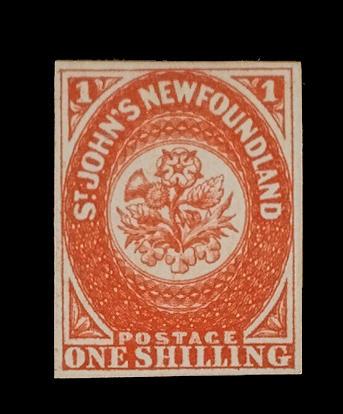 Newfoundland: 1857-64 1/- scarlet-vermilion (S.G.9), brilliant colour, superb and fresh unused. Friedl Certificate (1973) (327)