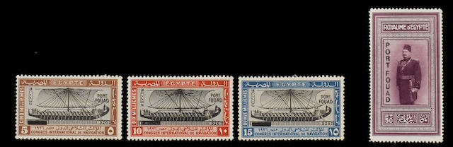 Egypt: 1866-1958 A mint and used collection in an album inc. 1866-1924 mainly used range inc. 1856 values to 5pi., 1872-75 to 5pi., mainly mint from 1920 with definitives,  commemoratives, airs, officials and miniature sheets inc. 1926 Port Fouad set with 1953 B.P.A. cert., 1932 surcharge pair, 1934 UPU Congress set, 1938 Wedding, etc. (361)