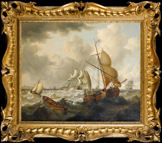 Charles Martin Powell (British, 1775-1824) A frigate under reduced sail and other craft in a heavy swell in the Straits of Dover 63.5 x 76.2cm. (25 x 30in.), in a carved, pierced and swept frame