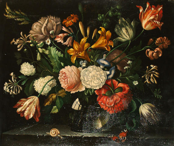 20th Century School Still life of flowers in a glass vase.
