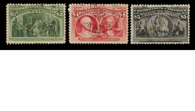 United States of America: 1851-1926 A mainly used selection of  definitive issues in mixed condition with values to 90c. and the 1892 Columbus set (less 30c.) with $1 mint and $3 to $5 light c.d.s. cancels, also some commemorative and revenue issues, etc. (556)