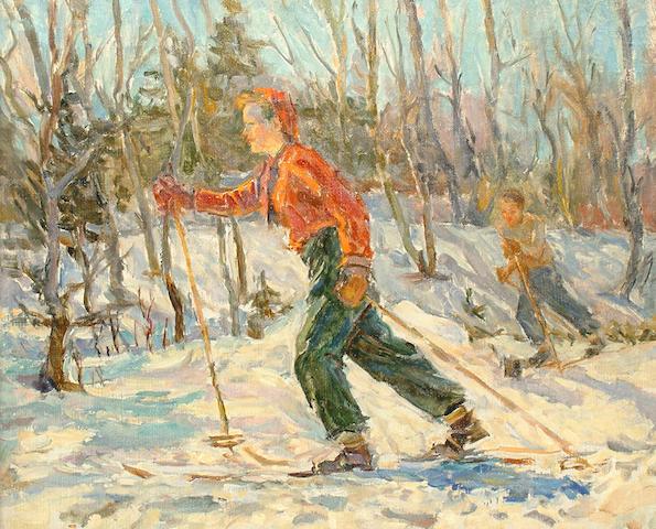 P.B Antohob (Russian, 20th Century) Skaters in a snow, 1946
