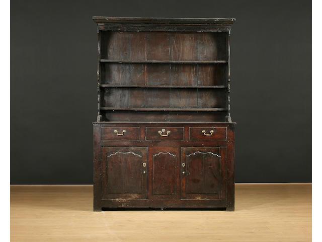 A mid 18th Century oak high dresser, North Wales