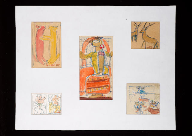 A Portfolio containg 10 sketch pages by Jamini Roy