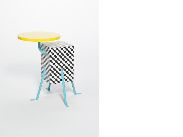 Michelle De Lucchi for Memphis, a 'Kristall' side table designed 1981 the yellow circular laminate t