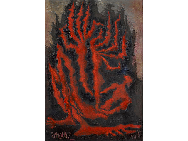 Sadequain (Pakistan, 1937-87) Red Cactus