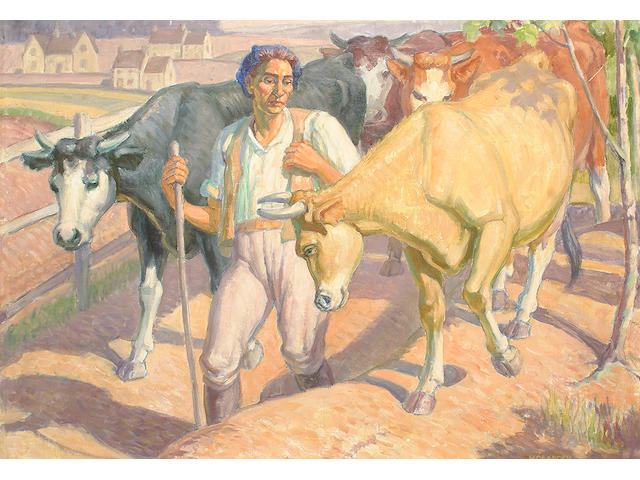 Harold Dearden (British, 1888-1969) Milking time.
