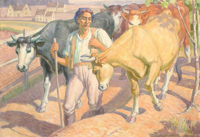 Harold Dearden (British, 1888-1969) Milking time.