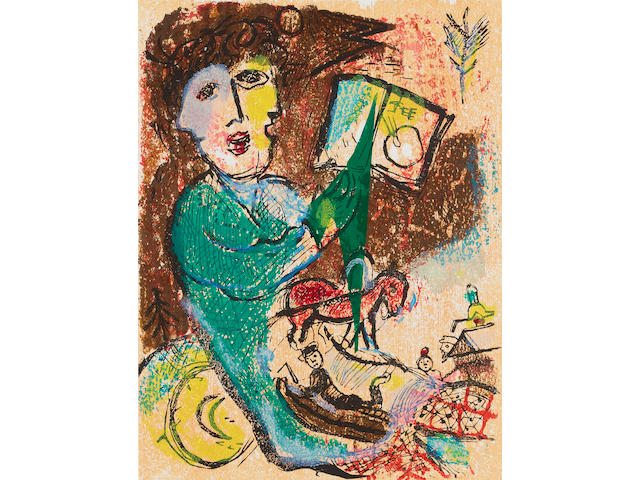Marc Chagall (French, 1887-1985) Poems The complete folio, 1968, including, title, justification, text and twenty four wood-engravings, printed in colours, on Rives, the justification page signed in pencil and numbered 170 from the edition of 200, text printed by Fequet et Baudier, wood engravings printed at Atelier Lacouriere et Frelaut by Jaime Herrera, published by Editions Cramer, Geneva, with the original linen box; in good condition, 390 x 300mm (15 1/3 x 11 3/4in)(folio)
