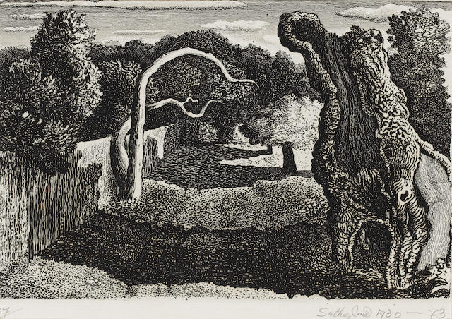 Graham Sutherland O.M. (British, 1903-1980) Pastoral Etching and engraving, signed, dated '1930-73' and numbered 57/57 in pencil, from the 1973 edition, on watermarked laid paper, printed by 2RC Rome, with their blindstamp, taped to mount as sheet edges, otherwise in good condition, 130 x 191mm (12 1/8 x 7 1/2in)(PL) unframed