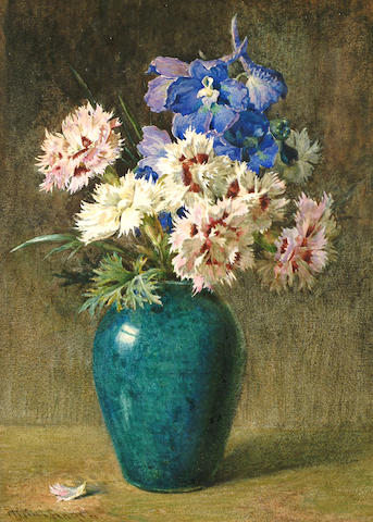 Helen Cordelia  Angell (British, 1847-1884) Still life of pinks and Larkspur.