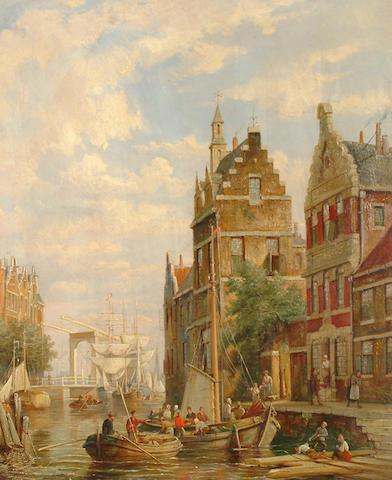 William Dommersen (Dutch, 1850-1927) On the Amstel, Amsterdam.