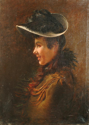 Italian School, 19th Century Portrait of a woman in profile wearing an elegant hat and fur collar.