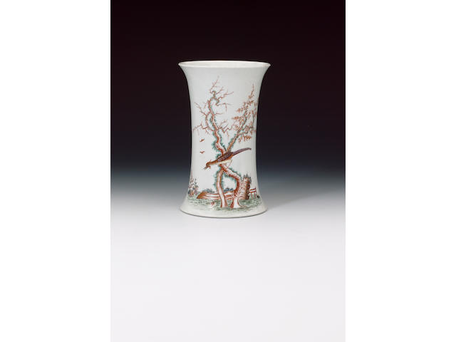A rare early Worcester vase circa 1754