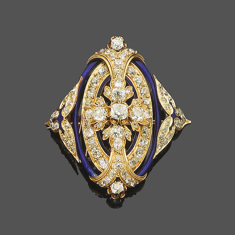 A late 19th century diamond and enamel brooch/pendant,