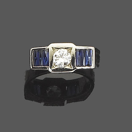 An art deco sapphire and diamond ring, by Van Cleef & Arpels,