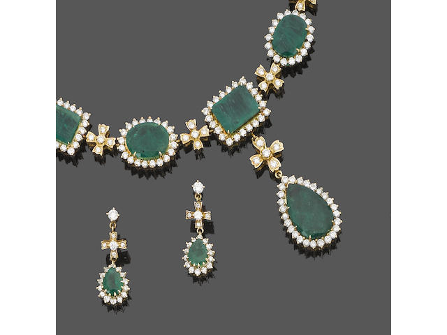 An emerald and diamond necklace and earring suite (2)