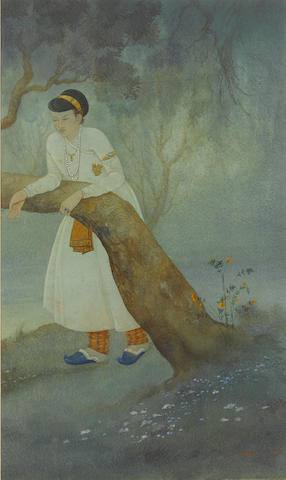I. Dass (India, probably Bengal, first half of the 20th Century) A prince in contemplation in a forest