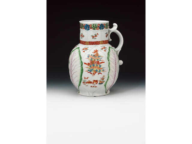 A very rare large Worcester Dutch jug circa 1762-65
