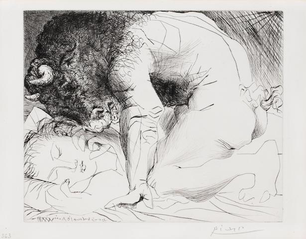 Pablo Picasso (Spanish, 1881 - 1973) Minotaure Caressant Une Dormeuse