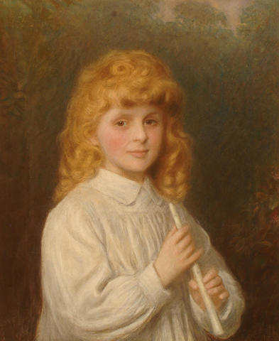 English School, 19th Century Portrait of a child holding an ivory flute.