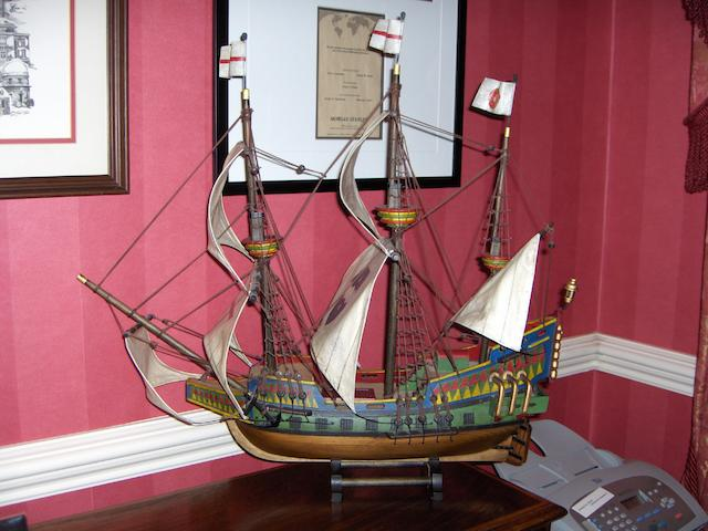 A decorative model of the Golden Hind