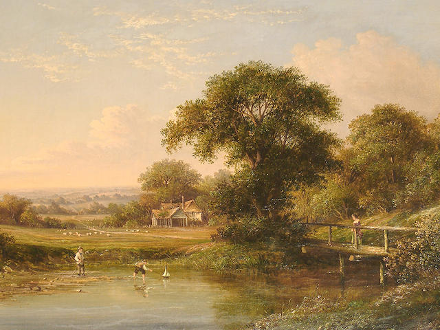 Walter Heath Williams (British, 1835-1906) Children playing by a river; and The ford. (2)
