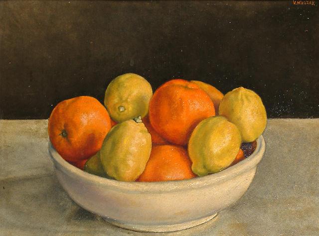 Vilmos Huszar (Hungarian, 1884-1960) Still life of oranges and lemons.