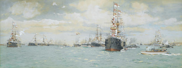 Eduardo Federico de Martino (Italian, 1838-1912)  The Jubilee Naval Review at Spithead, 23rd.June 18