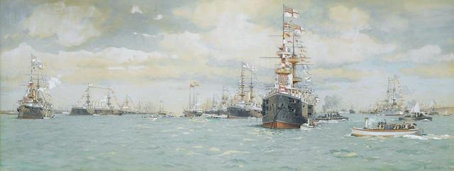 Eduardo Federico de Martino (Italian, 1838-1912)  The Jubilee Naval Review at Spithead, 23rd.June 18