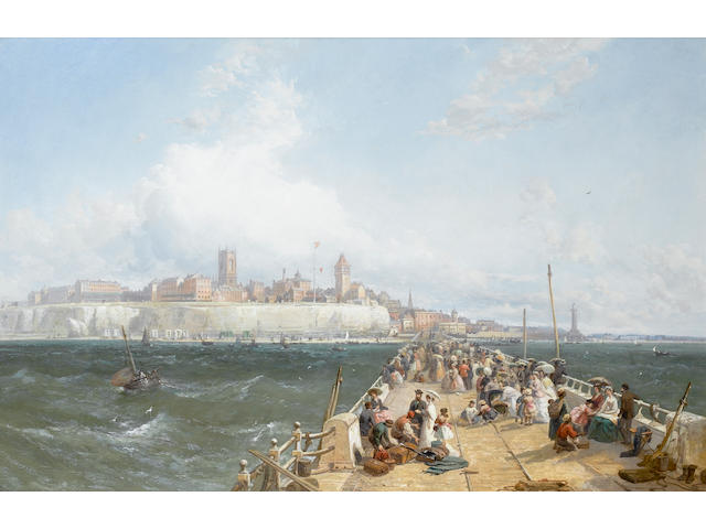 James Webb (British, 1825-1895) A view of Margate from the Pier 66.5 x 102 cm. (26 1/2 x 40 in.)