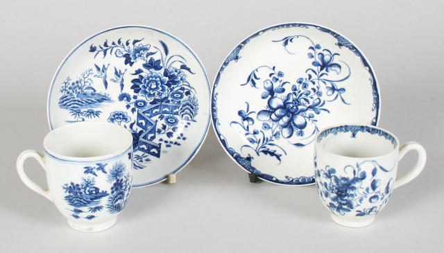 Two Worcester coffee cups and saucers circa 1770