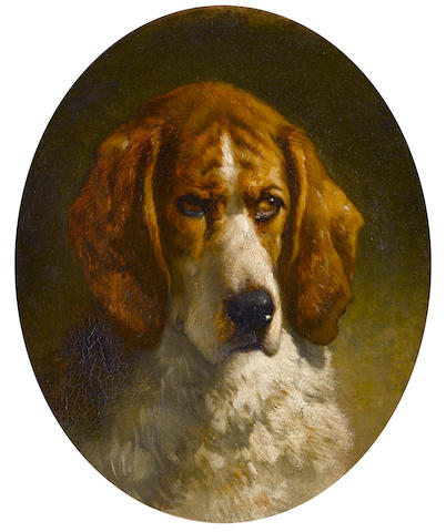 Follower of George Earl (British, 1824-1908) Study of a Hound 17 x 14 in. (43 x 35.5 cm.) painted oval