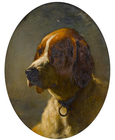 Follower of George Earl (British, 1824-1908) Study of the head of a Hound 20 x 16 in. (51 x 41 cm.) painted oval
