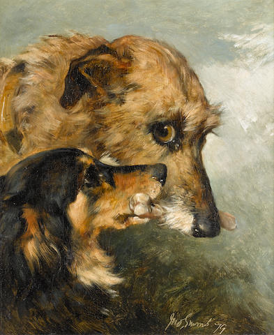 John Emms (British, 1843-1912) Friends 14 x 12 in. (35.5 x 30.5 cm.)