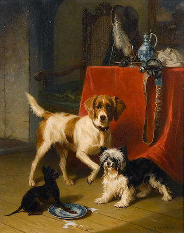Conradyn Cunaeus (Dutch 1828-1895) Spilt milk 27 1/4 x 21 3/4 in. (69 x 55 cm.)
