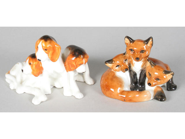 A Royal Worcester model of a group of hounds