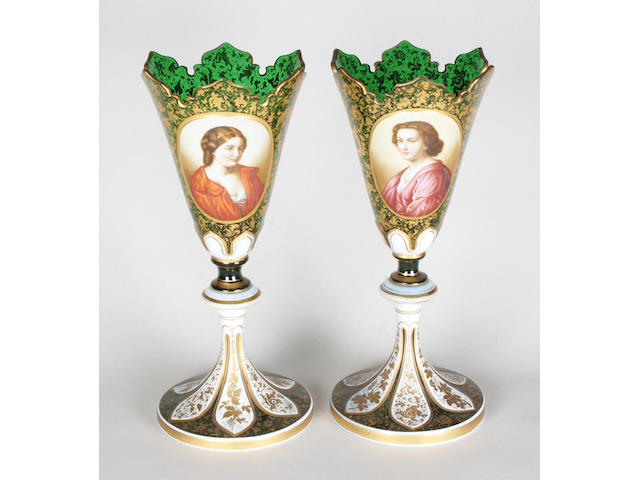 A pair of Bohemian green overlay vases Late 19th Century