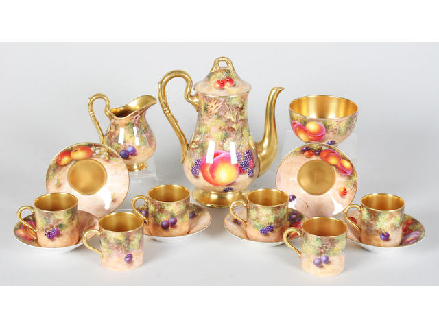 A Royal Worcester fruit painted coffee service