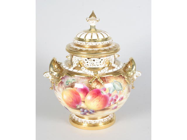 A large and impressive Royal Worcester fruit painted vase and cover 1970s