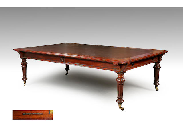 A large Victorian mahogany library table by Gillows