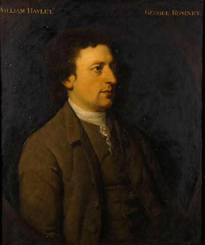 George Romney (British, 1734-1802) Half length portrait of William Hayley, in a painted oval, 74cm x 62cm.