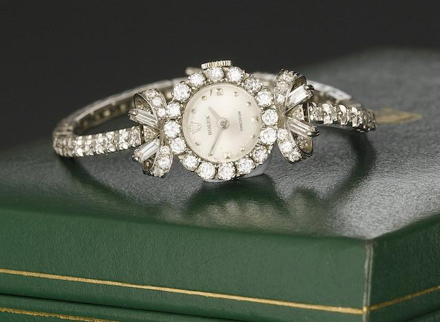 Rolex. An 18ct white gold diamond set bracelet watch 1940's