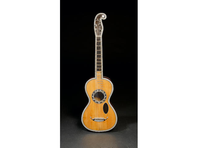 A six string French Guitar by Cabasse Visnaire L'aine circa 1820